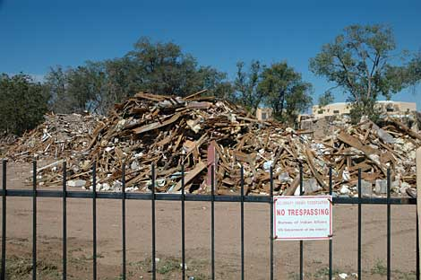 piles of debris are all that remain of the Santa Fe Indian School along Cerrillos Road